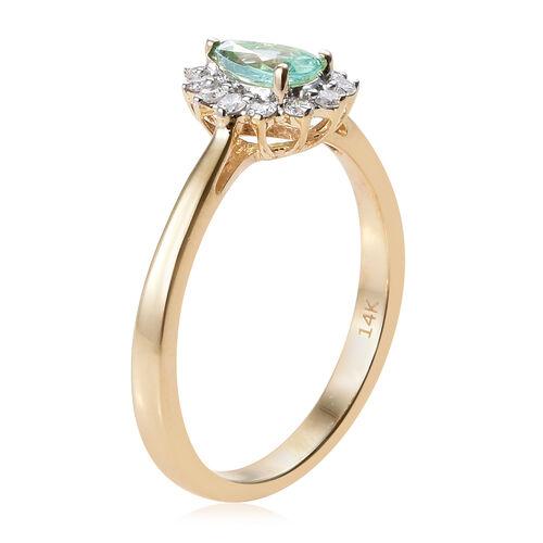 14K Yellow Gold AA Boyaca Colombian Emerald (Pear), Diamond Ring 0.500 Ct.
