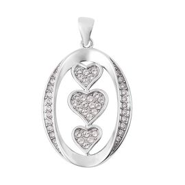 J Francis - Crystal from Swarovski White Crystal (Rnd) Pendant with Chain in Rhodium Overlay Sterlin