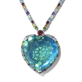 TJC Launch Limited Available - Peacock Quartz (Hrt 28 mm) and Multi Gemstone Necklace (Size 18) in P
