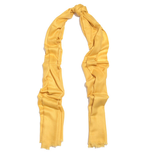 Mothers Day Special-100% Cashmere Wool Primrose Yellow Colour Shawl with Fringes (Size 200X70 Cm)