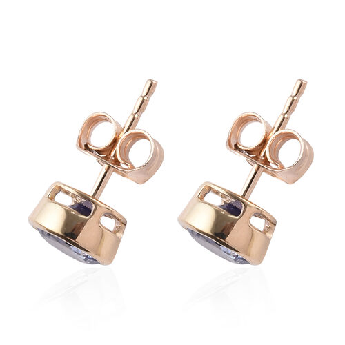 9K Yellow Gold  Tanzanite (Rnd) Stud Earrings (with Push Back) 1.75 Ct.