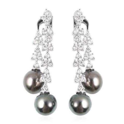 GP Tahitian Pearl and Multi Gemstone Leaf Vine Dangle Earrings in Rhodium Plated Sterling Silver