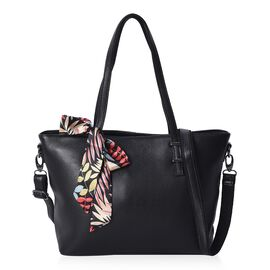 100% Genuine Leather Litchi Pattern Tote Bag with Detachable Shoulder Strap and Ribbon Bowknot (32x1