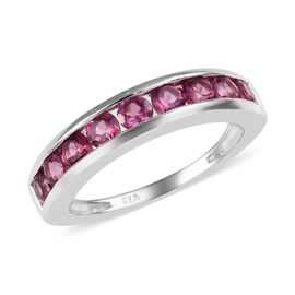 1.25 Ct Lotus Garnet Half Eternity Band Ring in Sterling Silver
