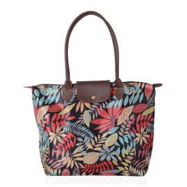 Super Chic Light Weight Water Resistant Spring Leaves Print Extra Large Tote Handbag (46x36x16 cm))