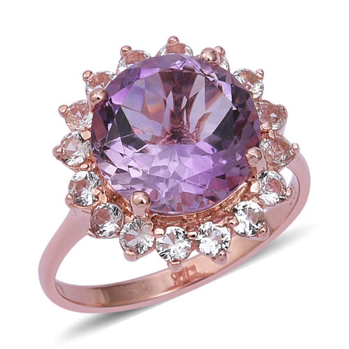 7.2 Ct Rose De France Amethyst and White Topaz Halo Ring in Gold Plated Sterling Silver 4.2 Grams