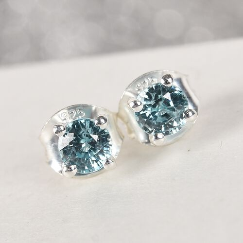 Valentine Special- Ratanakiri Blue Zircon Stud Earrings (with Push Back) in Sterling Silver