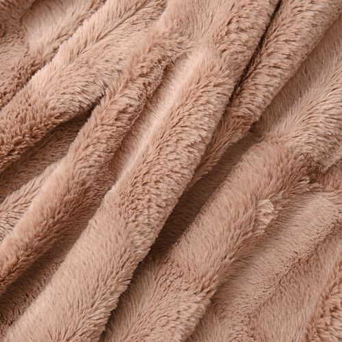 Block Texture Pattern Faux Fur Reverses To Mink Throw in Taupe Colour (Size 200x150 Cm)