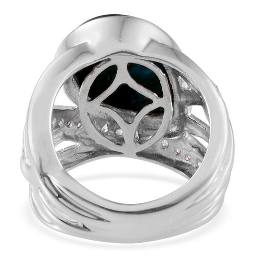 Table Mountain Shadowkite (Pear 9.25 Ct), White Topaz Ring in Platinum Overlay Sterling Silver 9.750 Ct. Silver wt. 7.85 Gms.