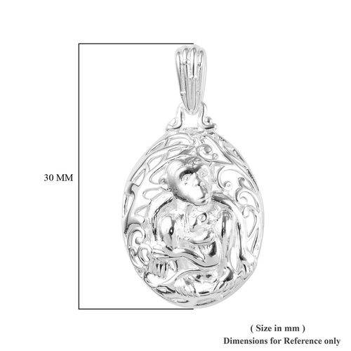 Sterling Silver Mother and Baby Monkey Pendant, Silver wt 3.40 Gms