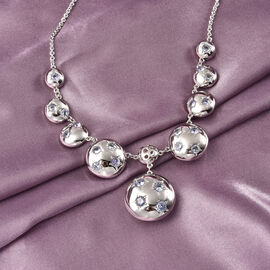 RACHEL GALLEY Orbit Collection - Tanzanite Necklace (Size 20) in Rhodium Overlay Sterling Silver 2.74 Ct, Silver Wt 21.45 Gms