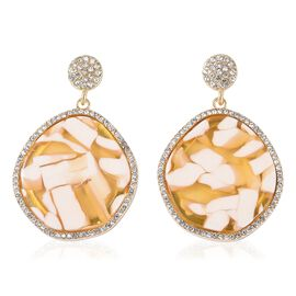 Simulated Bumble Bee Jasper and White Austrian Crystal Dangle Earrings in Gold Tone