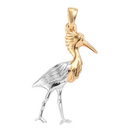 Platinum and Yellow Gold Overlay Sterling Silver Reddish Egret Pendant