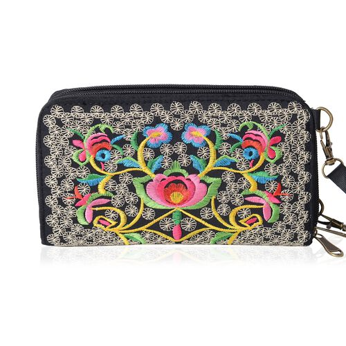 ShangHai Collection Butterfly Embroidery Long Wallet with Adjustable and Removable Shoulder Strap (Size 19x10x4 Cm )