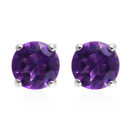 Amethyst Solitaire Stud Earrings (with Push Back) in Platinum Overlay Sterling Silver 0.89 Ct.