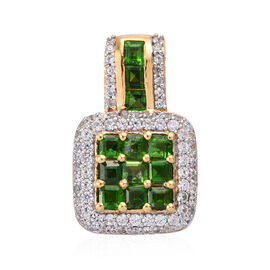 2 Carat Russian Diopside and Natural Cambodian Cluster Pendant in Gold Plated Sterling Silver