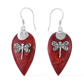Royal Bali Collection Sponge Coral Dragonfly Hook Earrings in Sterling Silver