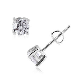 1 Carat Diamond Stud Earrings in 14K White Gold SGL Certified I1 I2 GH