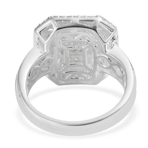 J Francis - Sterling Silver (Rnd and Bgt) Cluster Ring Made with SWAROVSKI ZIRCONIA, Silver wt 7.06 Gms. Number of Swarovski 136