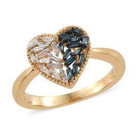 Blue and White Diamond (Bgt) Heart Ring in 14K Gold Overlay Sterling Silver 0.250 Ct.