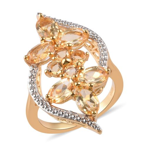 2.30 Ct AA Citrine Floral Ring in 18K Yellow Gold Plated