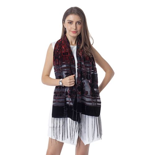 Wine Red and Black Colour Flower and Square Pattern Scarf (Size 155x50 Cm)