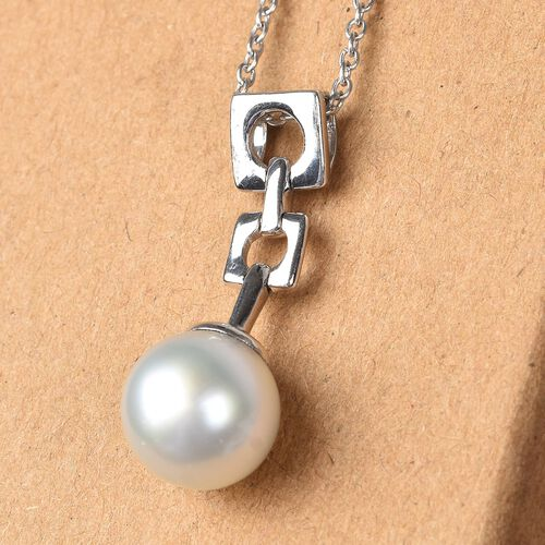 Royal Bali Collection - South Sea Pearl Pendant with Chain (Size 18) in Platinum Overlay Sterling Silver