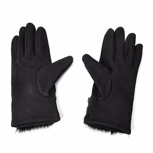 Solid Colour Women Winter Gloves with Pleated Embellishment and Faux Fur on the Wrist (Size 8.9x22.9 Cm) - Black