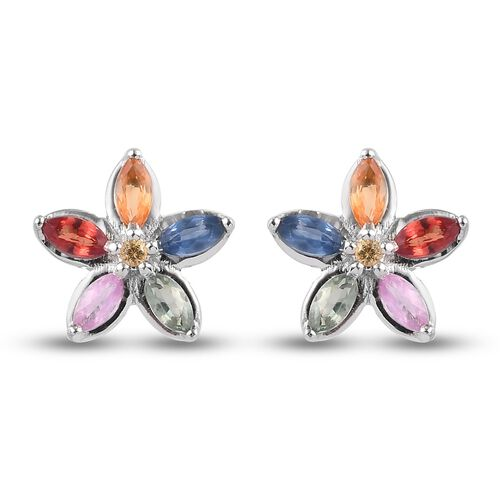 Rainbow Sapphire and Yellow Sapphire Floral Stud Earrings (with Push Back) in Platinum Overlay Sterl