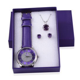 STRADA Japanese Movement Star Dust Watch, Pendant with Chain and Earrings Set in a Gift Box - Simulated Purple Amethyst CZ