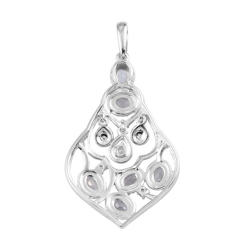 AA Santa Teresa Aquamarine and Natural Cambodian Zircon Pendant in Platinum Overlay Sterling Silver 1.05 Ct.