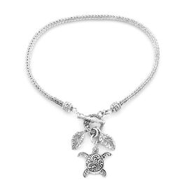 Royal Bali Tulang Naga Bracelet with Leaves and Turtle Charm in Sterling Silver 10 Grams 6.5 Inch