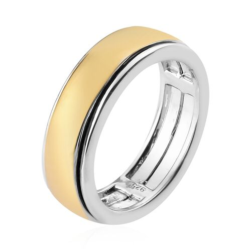 Yellow Gold and Platinum Overlay Sterling Silver Band Ring