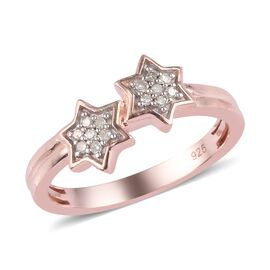 Diamond Twin Star Ring in Rose Gold Overlay Sterling Silver