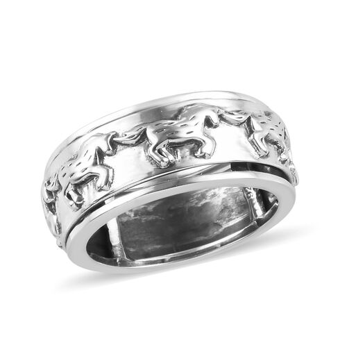 Horse Spinner Ring in Sterling Silver