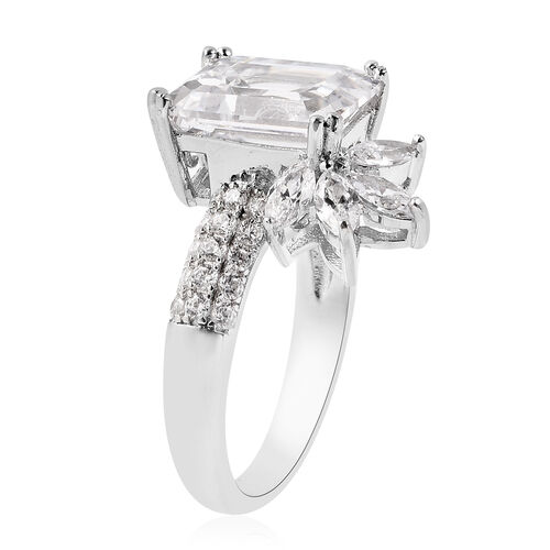 J Francis Rhodium Overlay Sterling Silver Ring Made with SWAROVSKI ZIRCONIA 10.00 Ct, Silver wt. 4.00 Gms