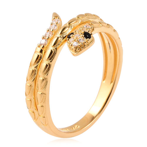 ELANZA Simulated Diamond Snake Ring in Yellow Gold Overlay Sterling Silver