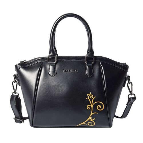 100% Genuine Leather Vine Pattern Tote Bag with Zipper Closure and Detachable and Adjustable Shoulde