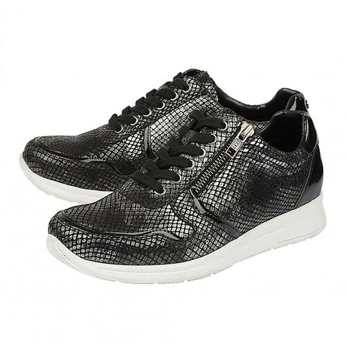 Lotus Stressless Black Pewter & Snake Leather Shira Casual Trainers (Size 3)