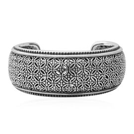 Lattice Work Cuff Bangle in Rhodium Plated Silver 34 Grams 7 to 8 Inch