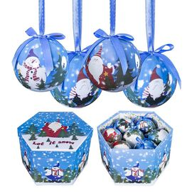 Set of 14 - Blue and Multi Colour Christmas Decoration Santa and Snowmen Pattern Baubles in a Box (S