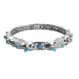 5.25 Ct Sleeping Beauty Turquoise Double Panther Head Bangle in Platinum Plated Silver 7.5 Inch