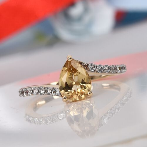 9K Yellow Gold AA Imperial Topaz and Natural Cambodian Zircon Ring 1.50 Ct.