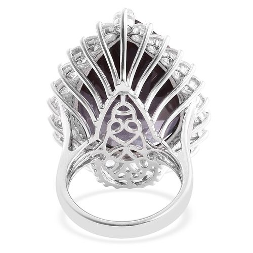 Alexandria Quartz (Pear 41.85 Ct), Natural Cambodian Zircon Ring in Platinum Overlay Sterling Silver 48.750 Ct.