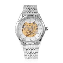 GENOA Automatic Skeleton Water Resistant Watch with Stainless Steel Strap