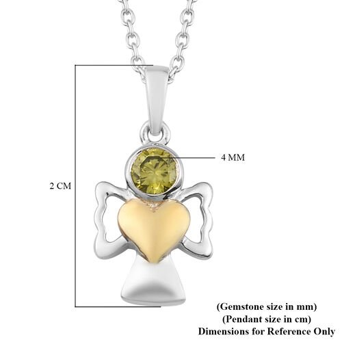 Simulated Peridot Pendant With Chain (Size 20) in Yellow Gold and Platinum Overlay Sterling Silver