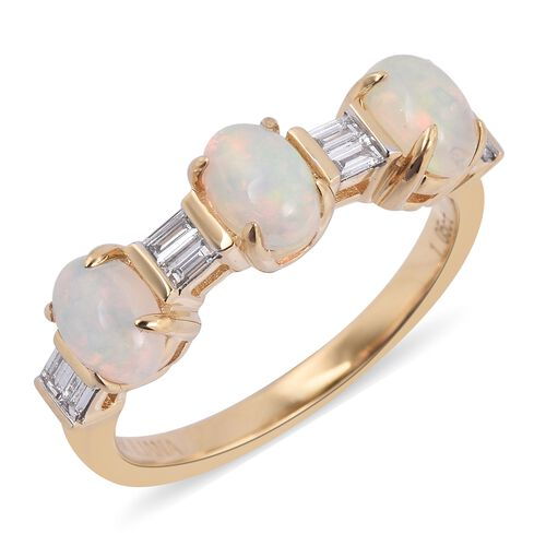 ILIANA 18K Yellow Gold AAA Ethiopian Welo Opal (Ovl),Diamond (SI G-H) Ring  1.250 Ct.