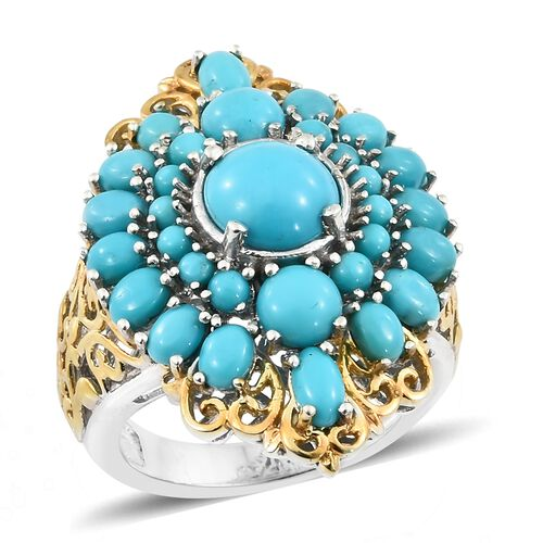 6 Carat Sleeping Beauty Turquoise Filigree Cluster Ring in Platinum Plated Silver 8.20 Grams