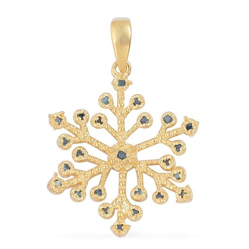 Blue Diamond (Rnd) Starburst Pendant in Yellow Gold Overlay Sterling Silver