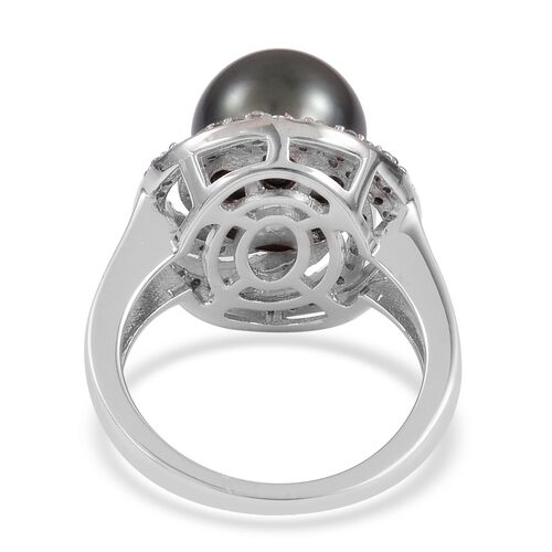 Tahitian Pearl (Rnd 9.5-10mm), Natural White Cambodian Zircon Ring in Platinum Overlay Sterling Silver